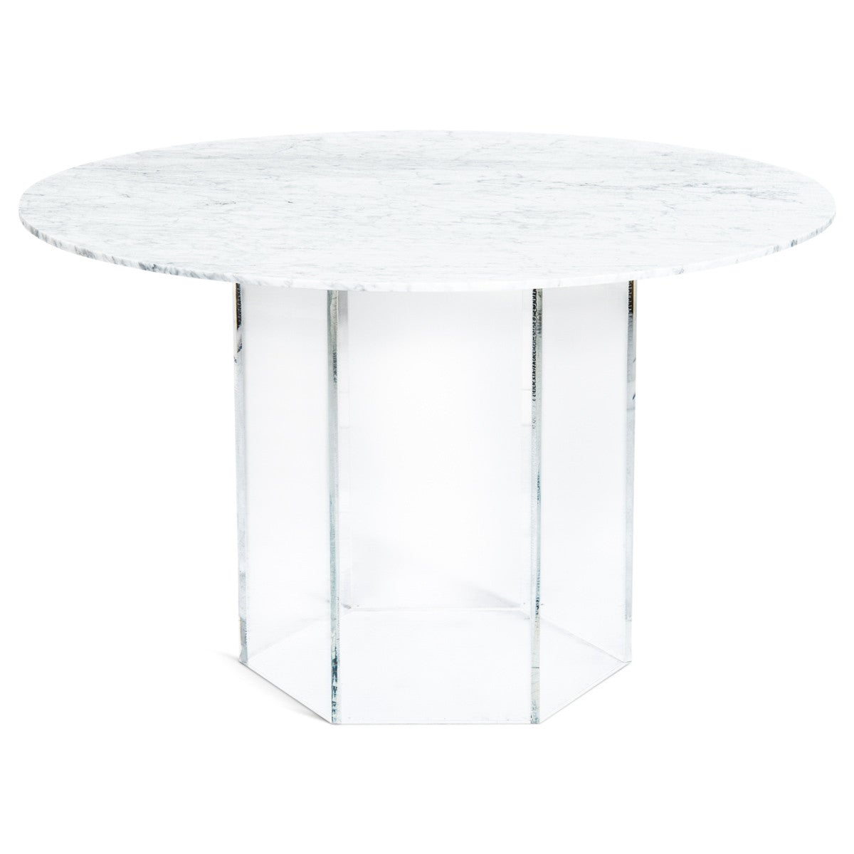 Iceland Dining Table With Hexagon Lucite Base ModShop - Hexagon glass dining table