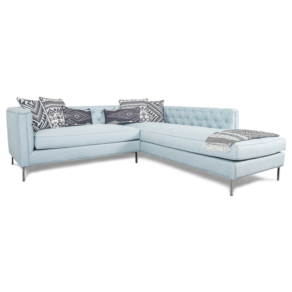 Hollywood Sectional in Ice Blue Linen