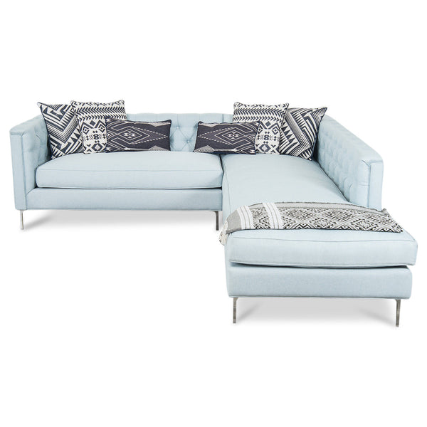 Hollywood Sectional in Ice Blue Linen - ModShop1.com