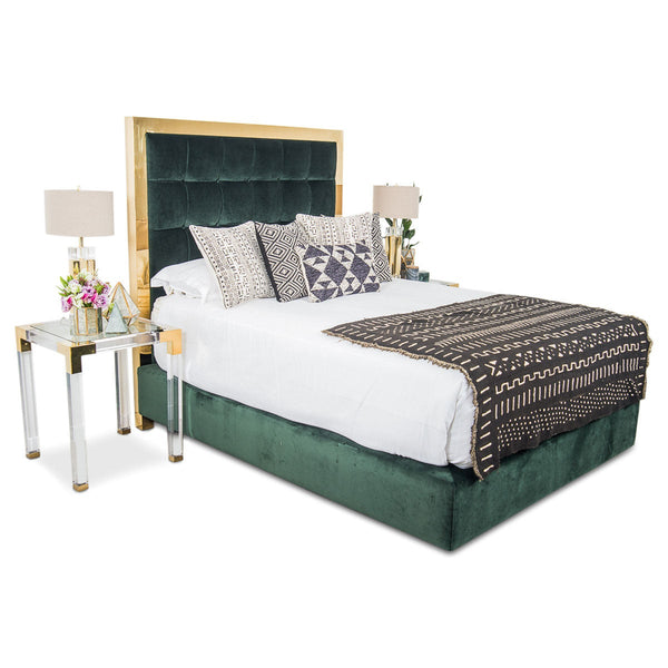 Ibiza Bed in Hunter Green Velvet - ModShop1.com