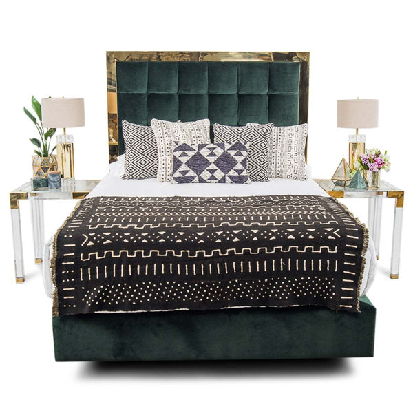 Ibiza Bed in Hunter Green Velvet