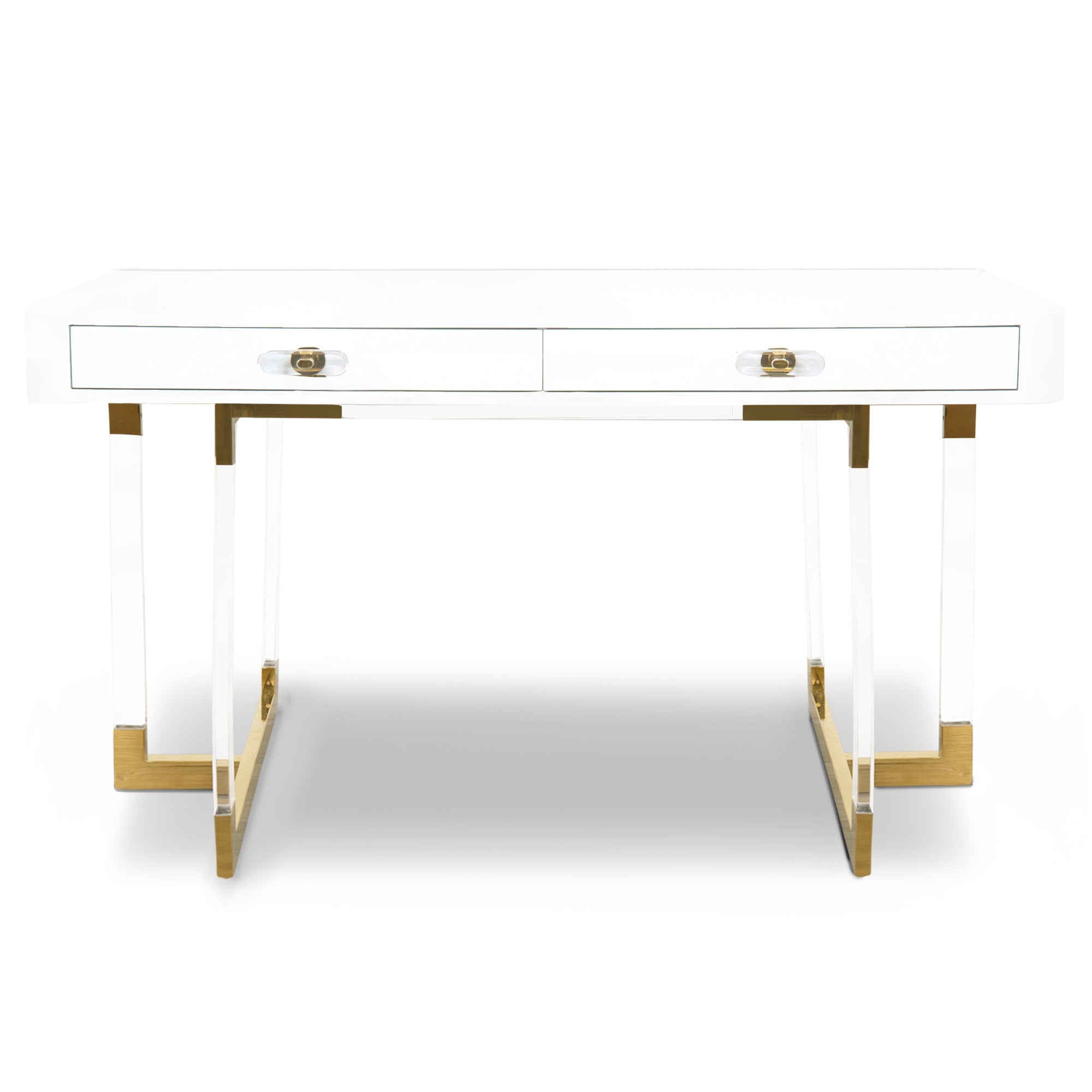 Ibiza 2 Desk With Lucite Legs Two Drawers White Modshop