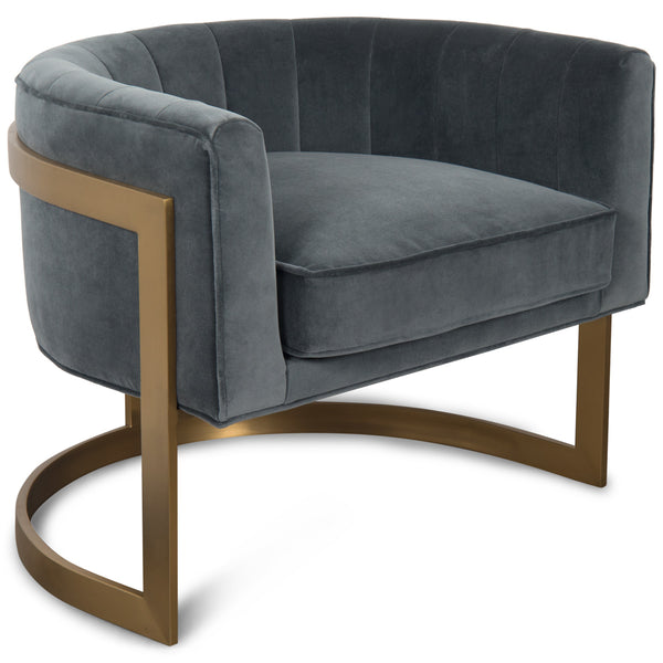 Ibiza Arm Chair in Velvet and Brushed Brass - ModShop1.com