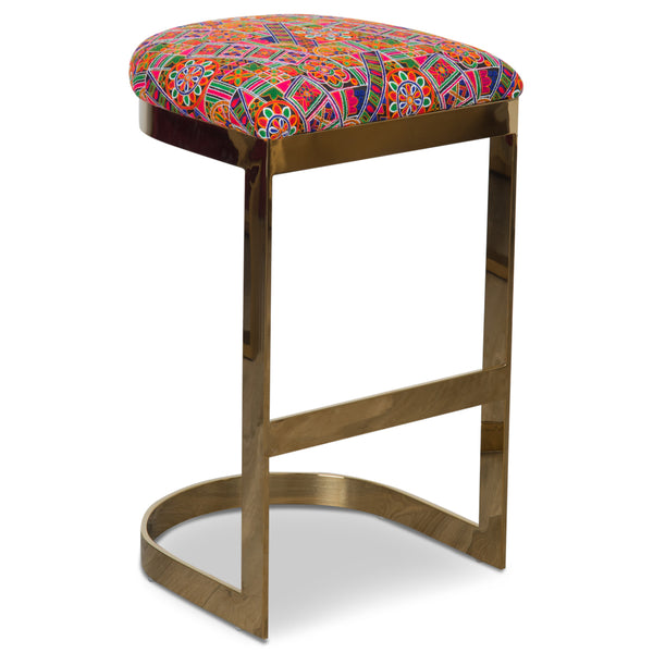 Ibiza Backless Bar and Counter Stool in Thai Hand Embroidered Pattern