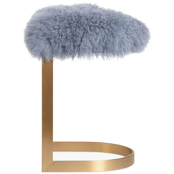 Ibiza Backless Bar and Counter Stool in Mongolian Fur - ModShop1.com
