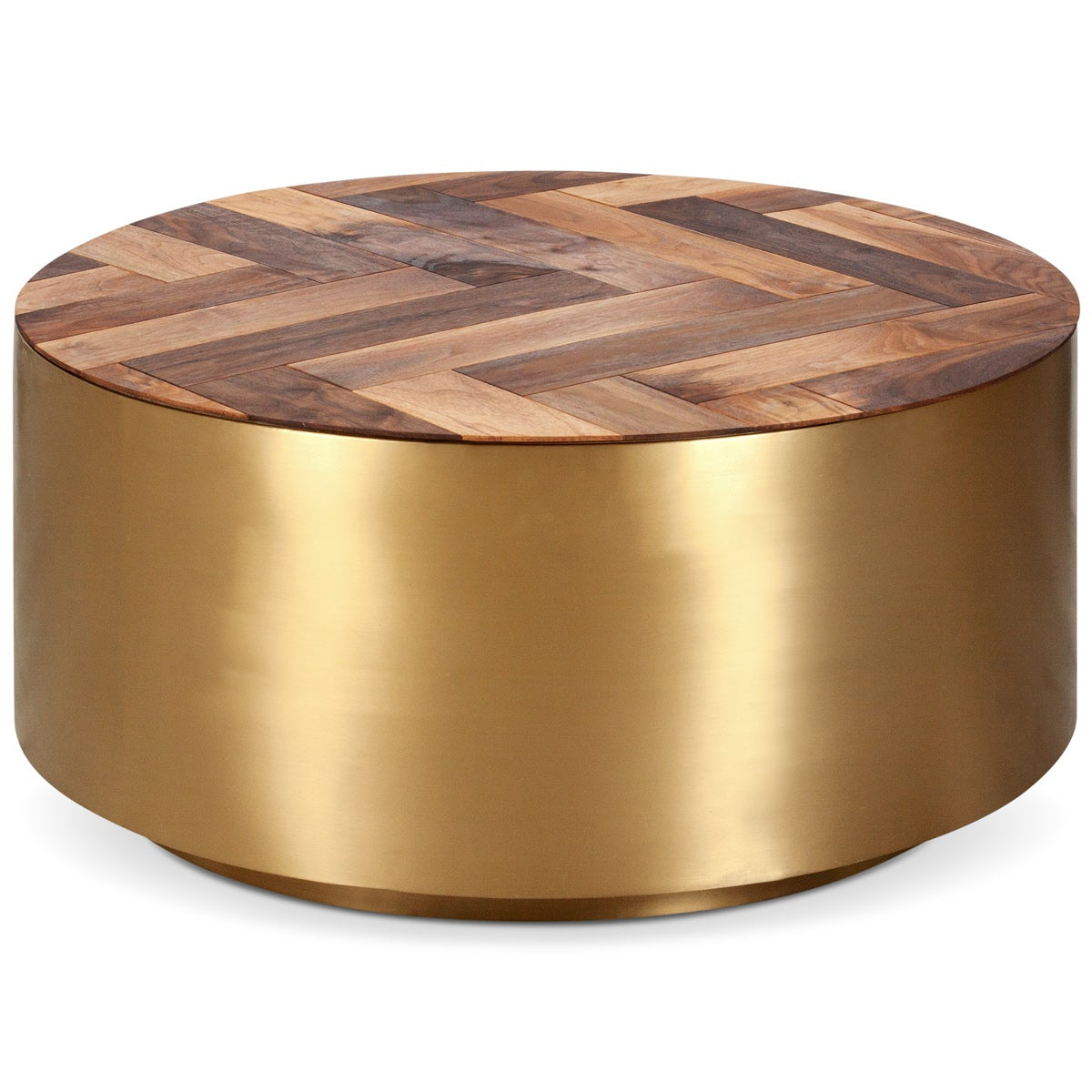 Modern Brass Coffee Table With Oiled Walnut