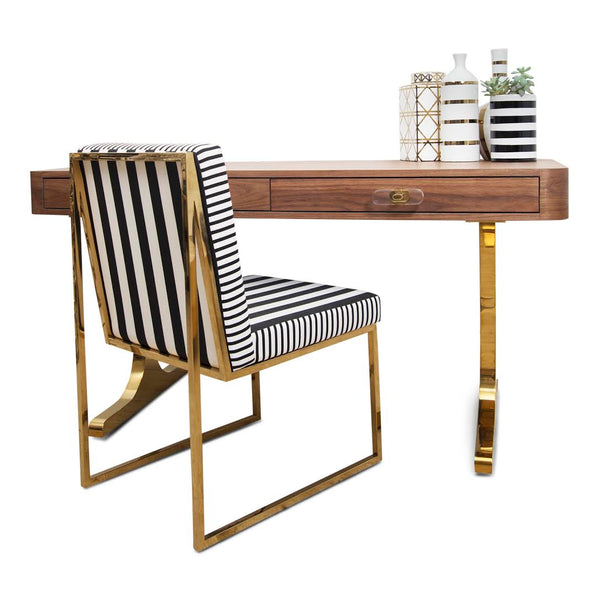 Ibiza Walnut Desk with Brass T-Legs