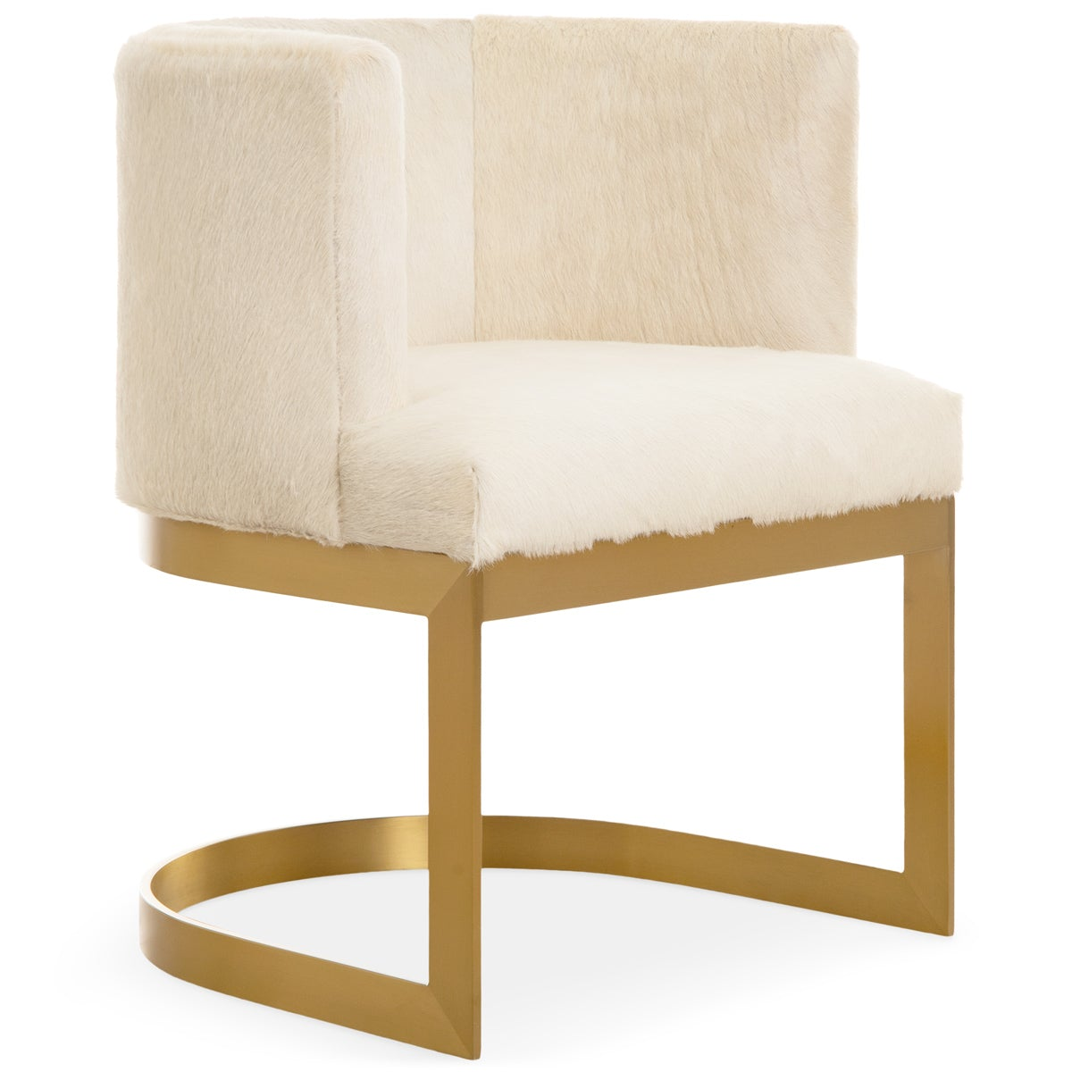 Ibiza Dining Chair In Brushed Brass And Cowhide Modshop