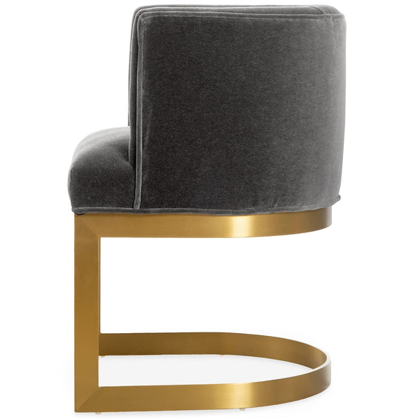 Ibiza Dining Chair in Brushed Brass and Mohair - ModShop1.com