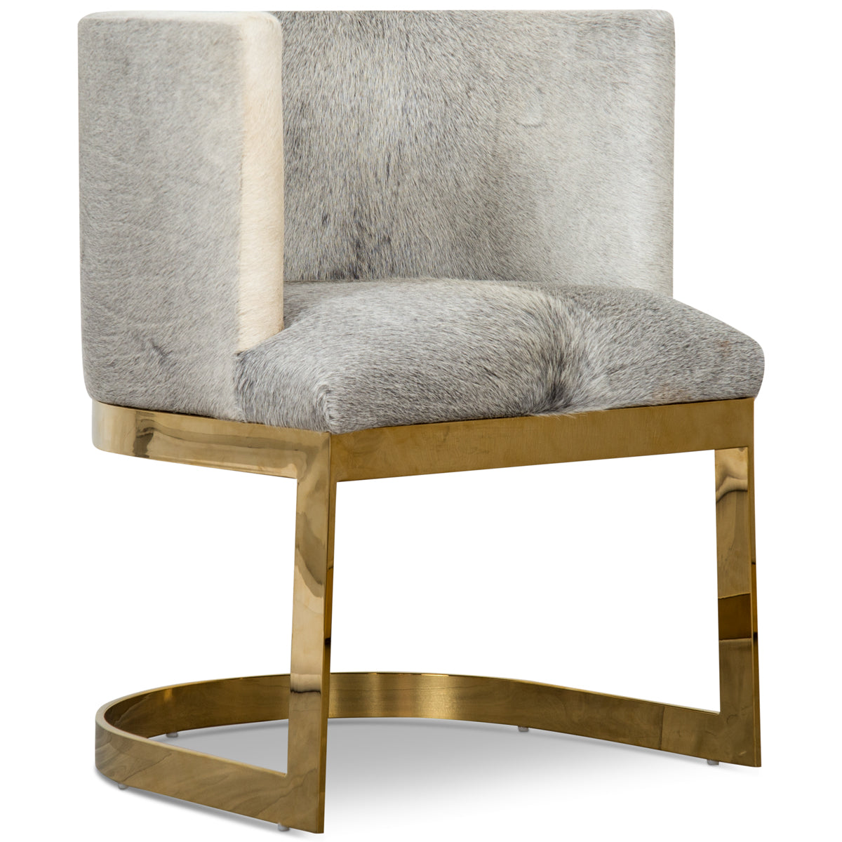 Ibiza Dining Chair In Grey Champagne Cowhide
