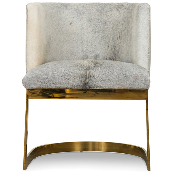 Ibiza Dining Chair in Silver Cowhide