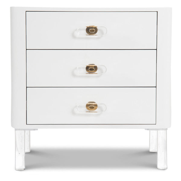 Ibiza 3 Drawer Side Table in White