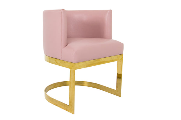 ibiza dining chair in pink faux leather