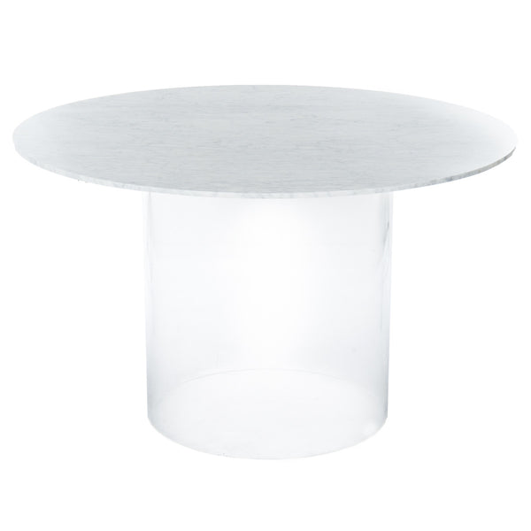 Iceland Dining Table with Cylinder Lucite Base