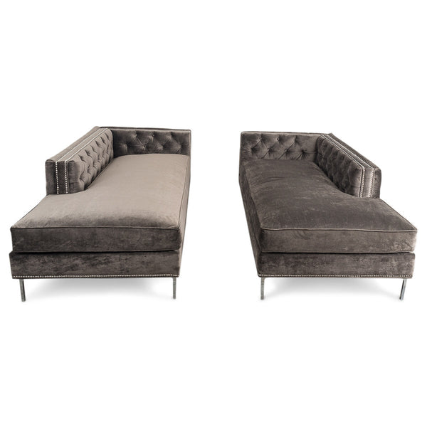 Hollywood Inside-Out Chaise in Charcoal Velvet - ModShop1.com