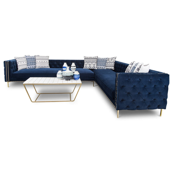 Inside Out Sectional in Regal Navy Velvet
