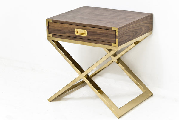 Jet Setter X-Base Side Table in Walnut - ModShop1.com