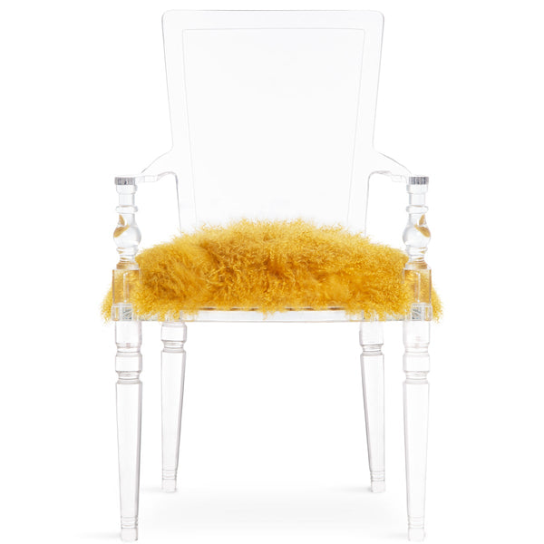 Juliette Lucite Chair in Golden Mongolian Fur - ModShop1.com