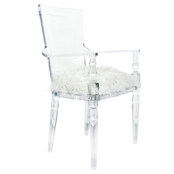 Juliette Lucite Chair in Faux Fur