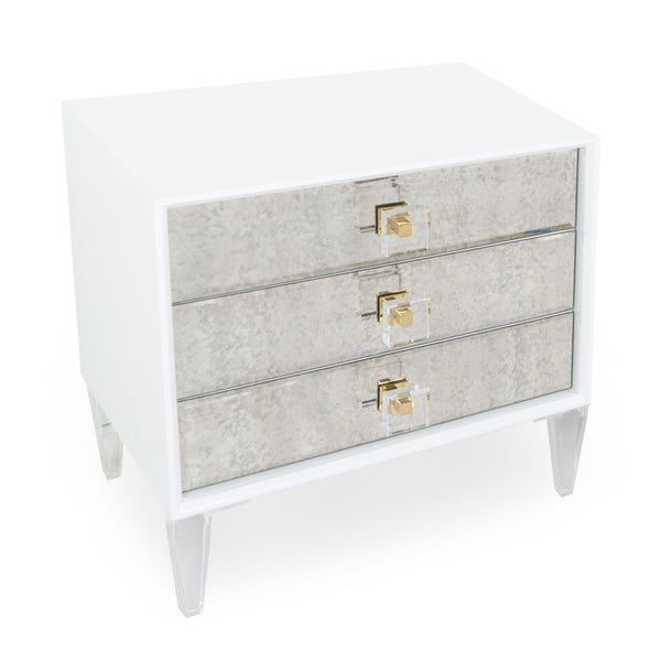 Juliette 3 Drawer Side Table in White
