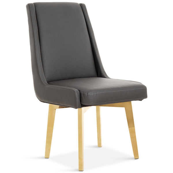 Kensington Dining Chair in Charcoal Leather