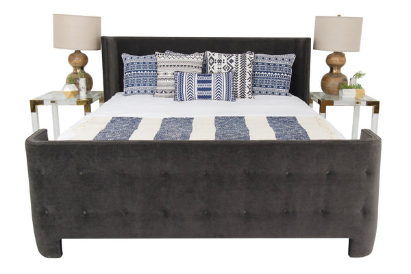 St. Bart's Bed in Charcoal Velvet