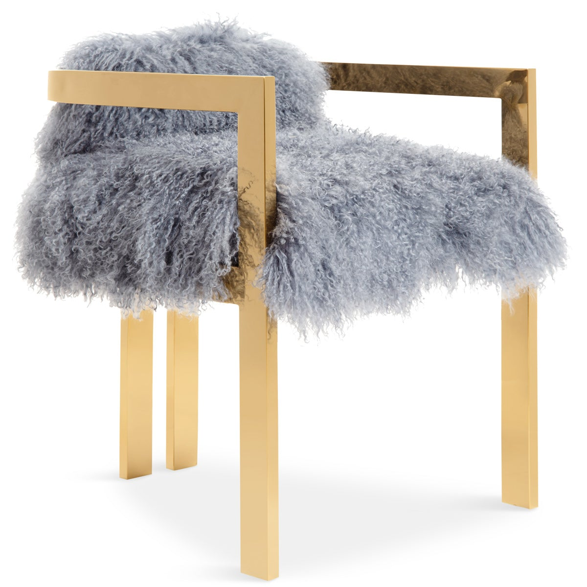 Kingpin Dining Chair in Mongolian Fur - ModShop1.com