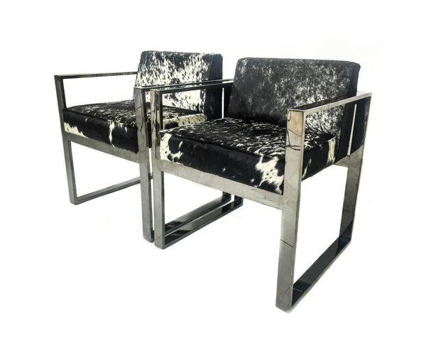 Black Chrome Dining Kube Chair in Salt and Pepper Cowhide
