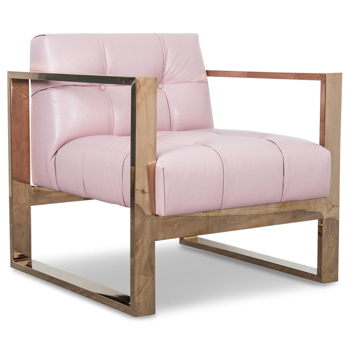 Kube Chair in Rose Gold and Blush Faux Leather - ModShop1.com