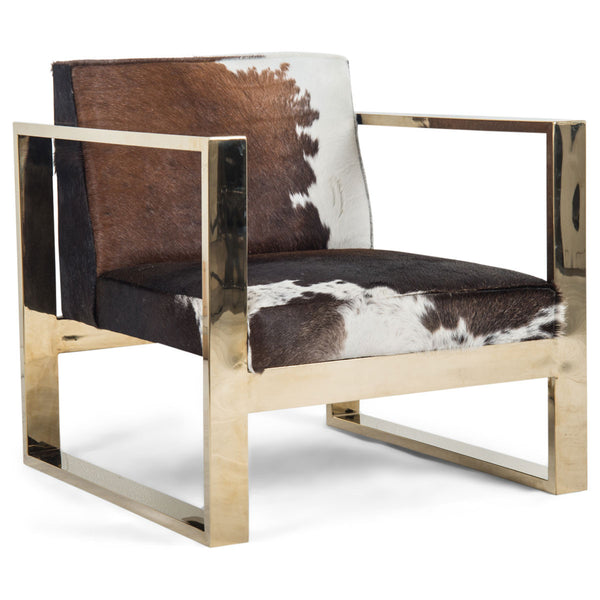 Kube Chair in Tri-Color Cowhide