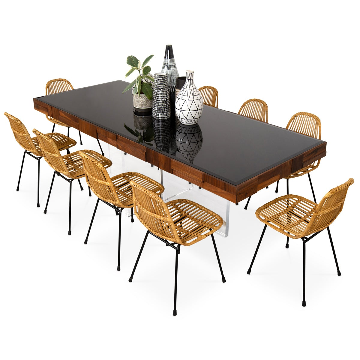 Kubist Dining Table with Cross Lucite Base - ModShop1.com