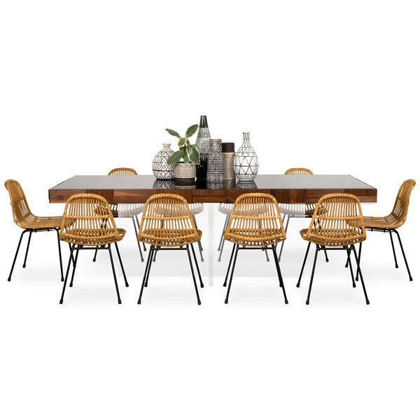 Kubist Dining Table with Cross Lucite Base