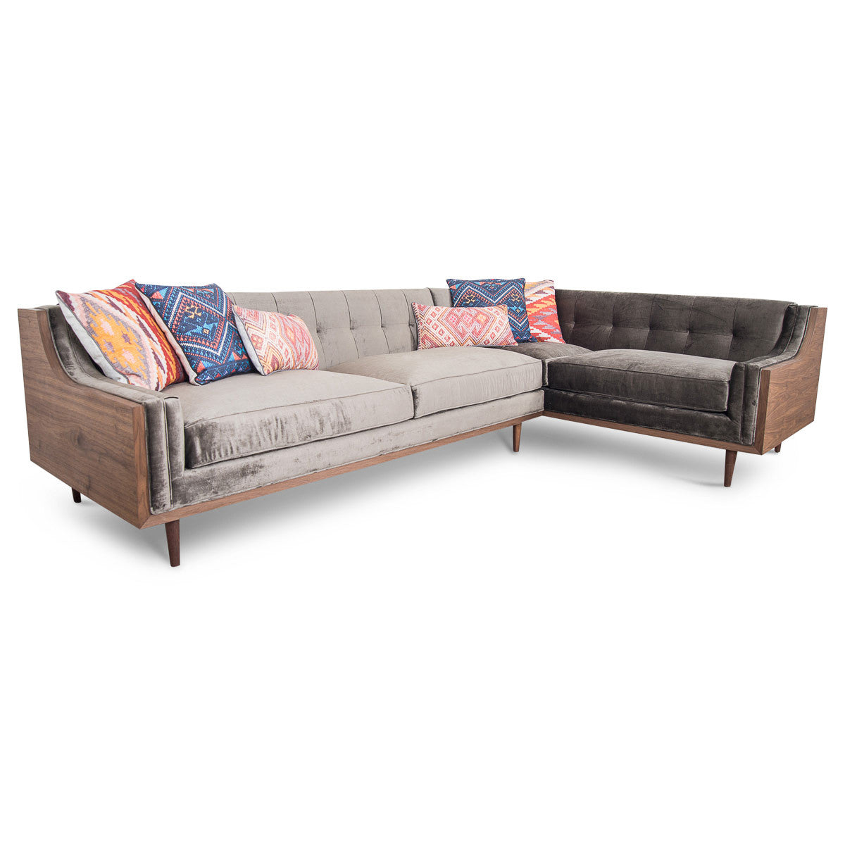 Lautner Sectional in Brussels Sky Grey Velvet - ModShop1.com
