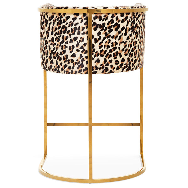Lisbon Bar and Counter Stool in Leopard Print Cowhide - ModShop1.com