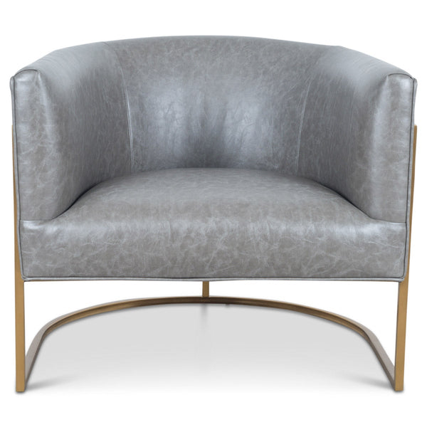 Lisbon Chair in Grey Leather - ModShop1.com