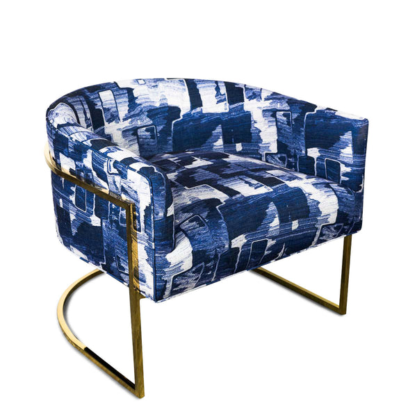 Lisbon Chair in Denim Abstract
