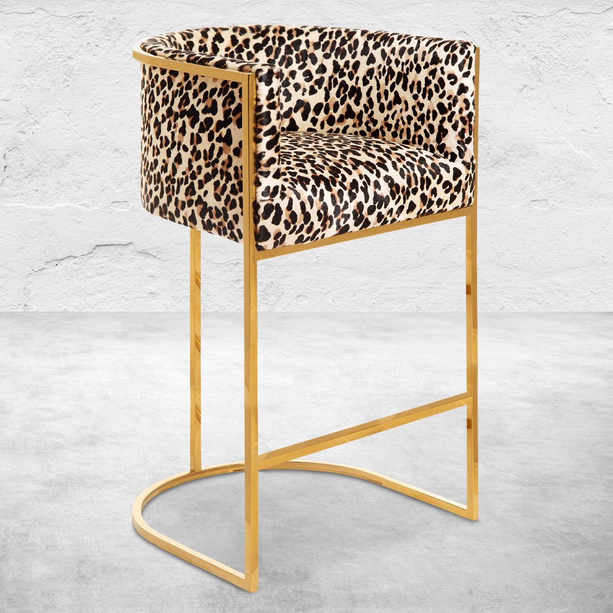 Lisbon Bar and Counter Stool in Leopard Print Cowhide