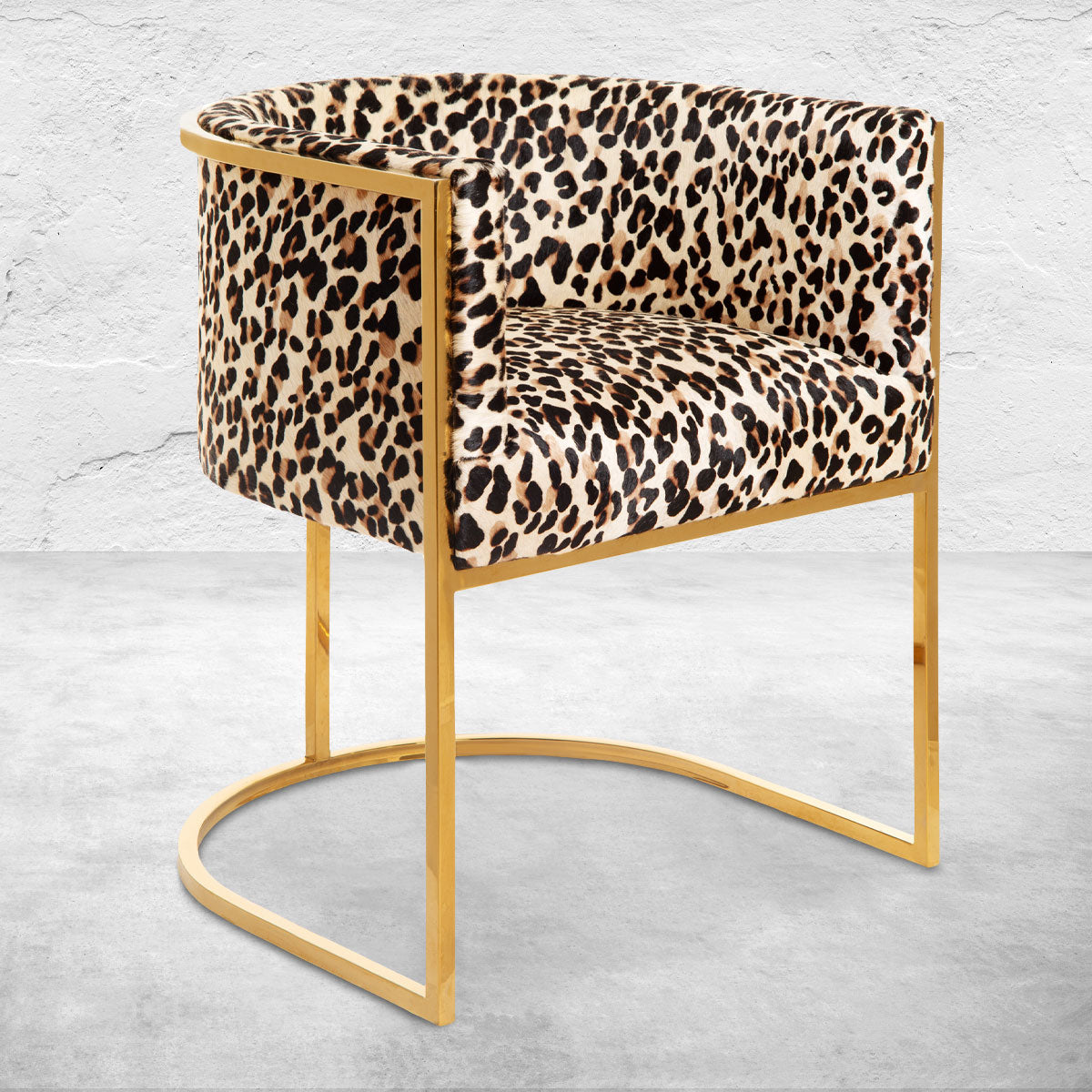 Lisbon Dining Chair in Leopard Print Cowhide