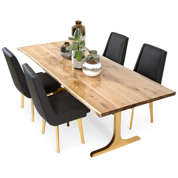 Live Edge Bleached Solid Walnut Slab Dining Table with Resin Finish
