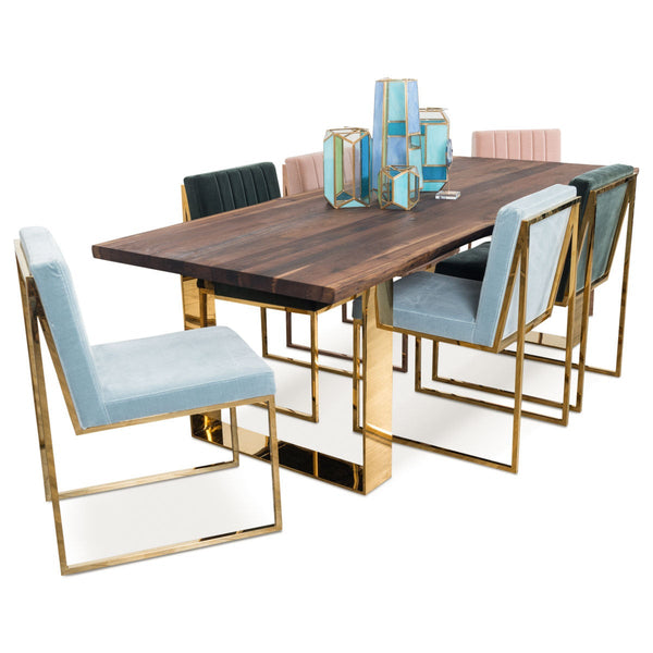 Dining Table With Gold Legs Part - 26: Eco Solid Walnut Slab Dining Table