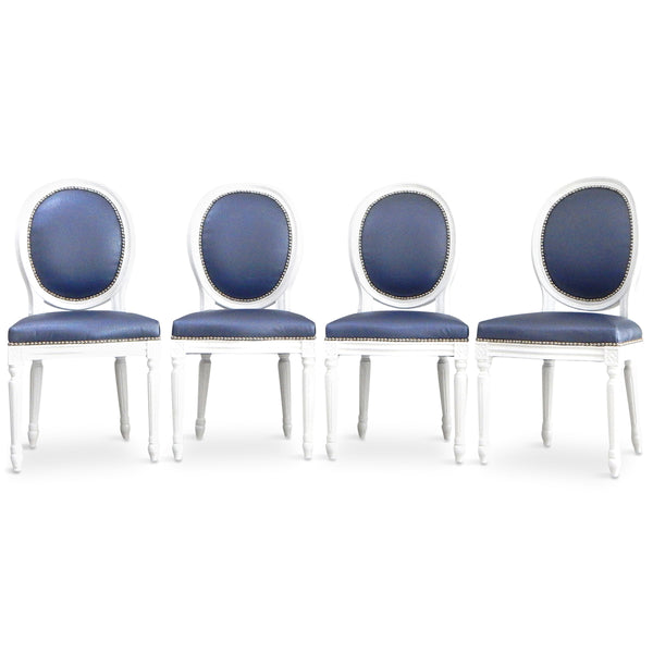 Louis Dining Chair in Navy Faux Leather (Set of 4)