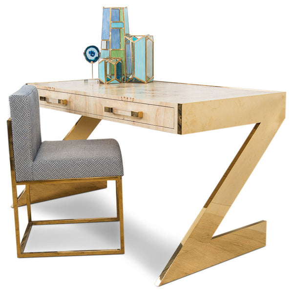 Manchester Desk With Brass Z Legs Z Wooden Desk Modshop