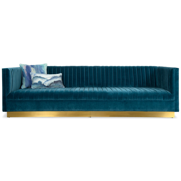 Manhattan Sofa In Velvet With Brass Toe Kick