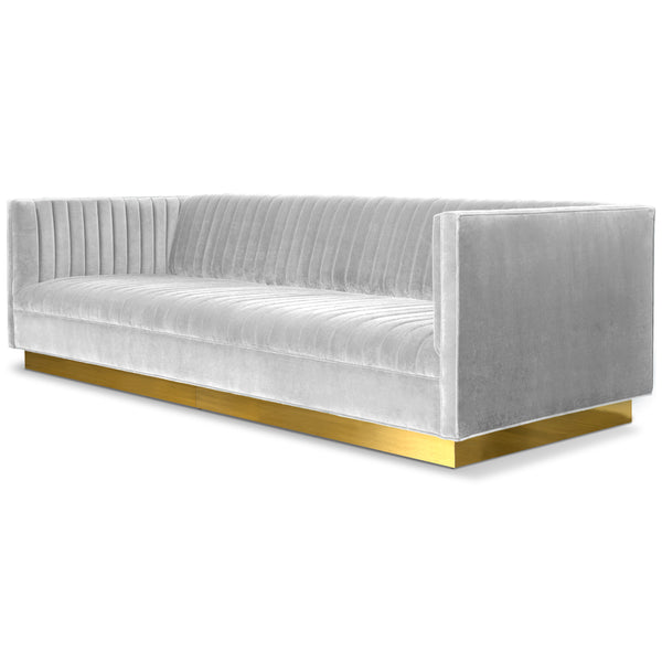 Manhattan Sofa in Velvet with Brass Toe Kick - ModShop1.com