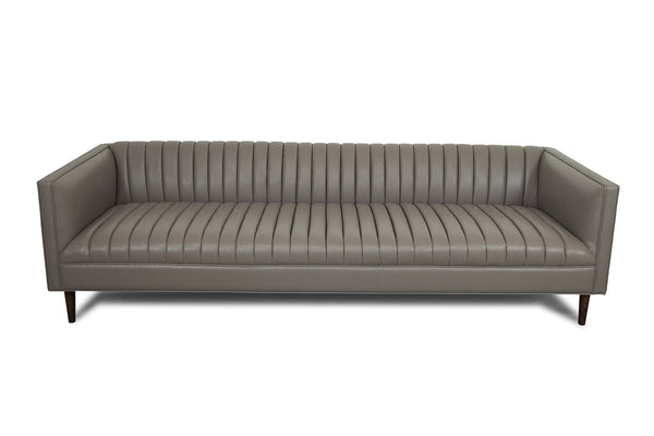 Manhattan Sofa in Charcoal Faux Leather - ModShop1.com