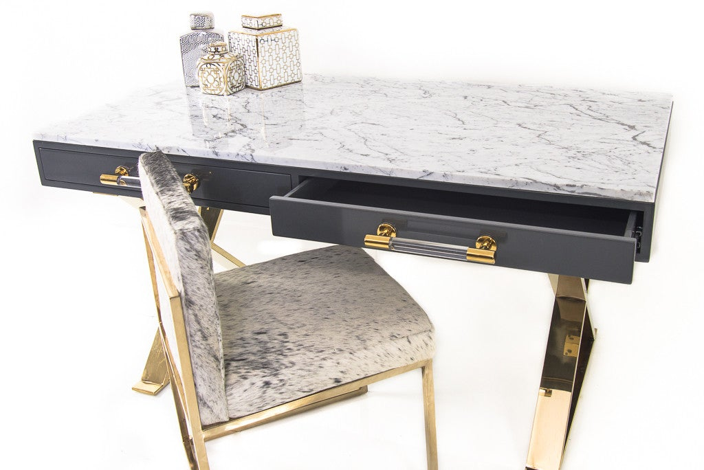Famous Lucite and Brass Desk with Marble top | Modshop - ModShop FS37