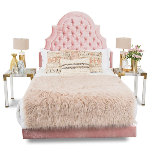 Marrakesh Bed in Blush Velvet - ModShop1.com