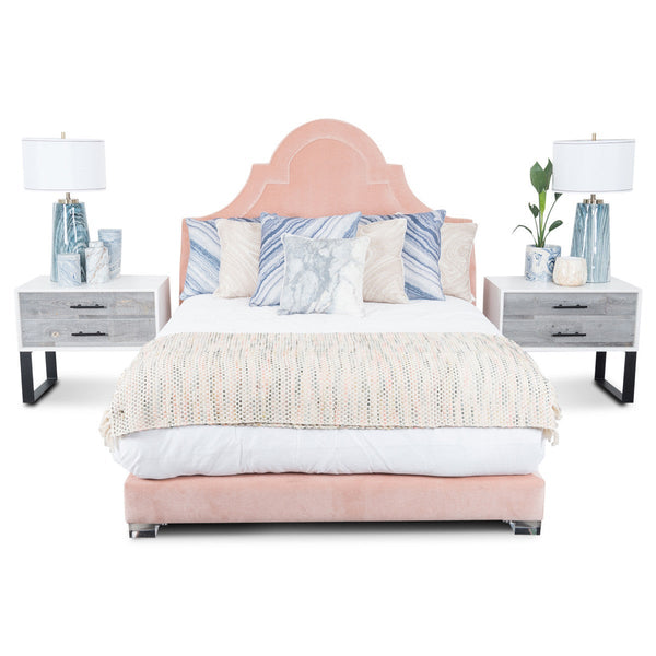 Bel-Air Bed in Blush Pink Velvet