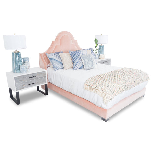 Marrakesh Bed in Blush Pink Velvet