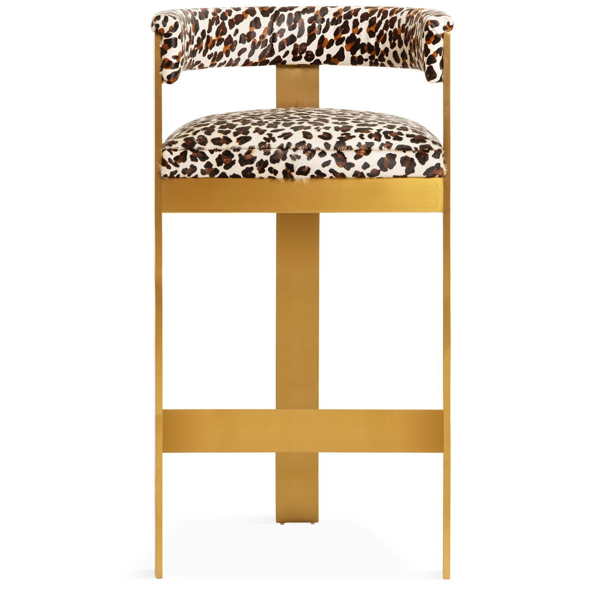 Marseille Bar and Counter Stool in Leopard Print Cowhide - ModShop1.com